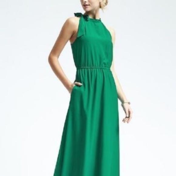 f74ed5d9c00 NWT Banana Republic Green Halter Maxi Dress